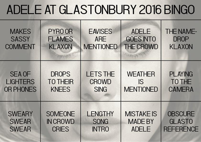 Adele Glastonbury Bingo